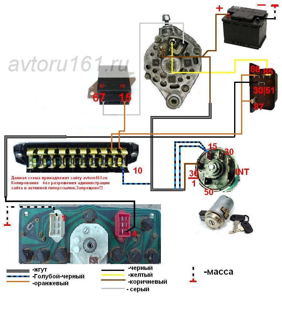 схема подключение генератора ваз 2101