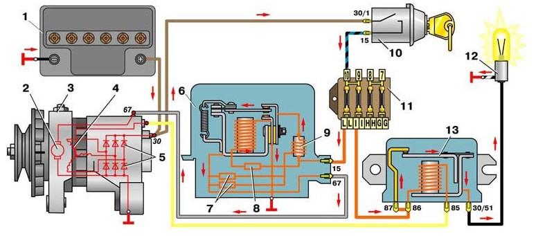 схема зарядки ваз 2101